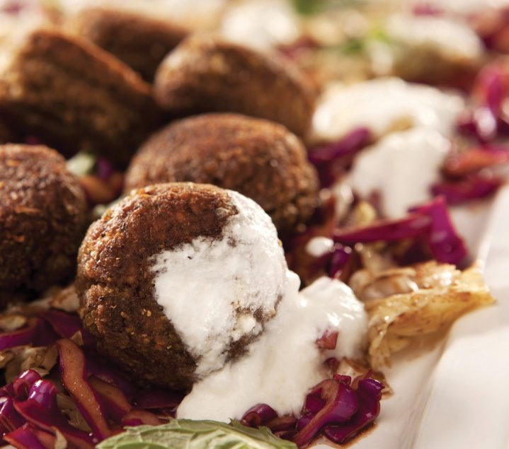 Falafel with Tahini Salad and Pitta Bread