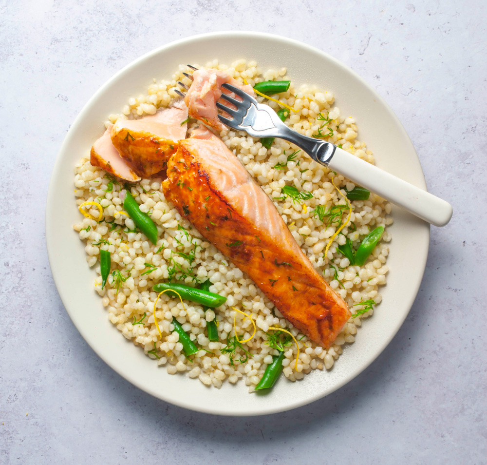 Herbed Maftoul with Harissa Salmon