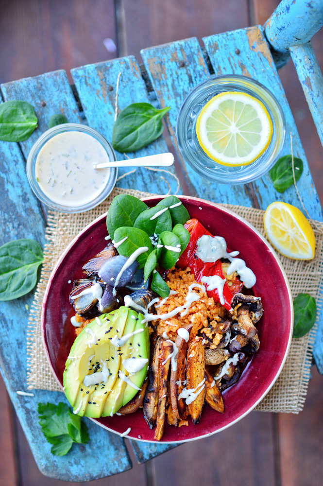 Easy Tahini Salad Dressing with Bulgur Salad Bowl